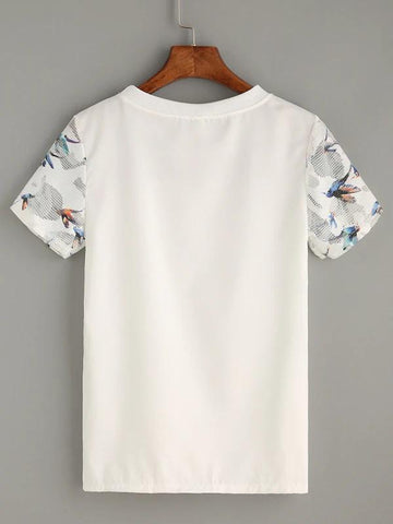 Bird Print Mesh Yoke Top