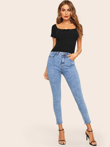 Bleach Wash Patched Pocket Crop Jeans