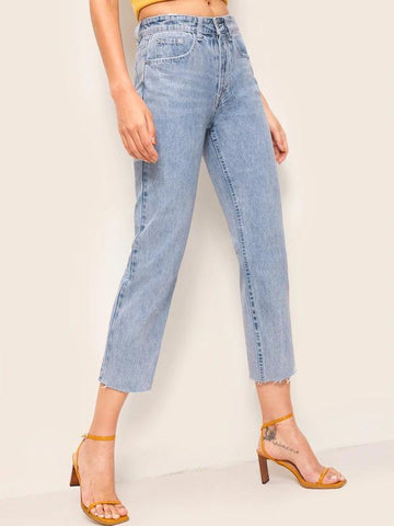 Bleach Wash Raw Hem Cropped Jeans