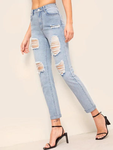 Bleach Wash Rolled Hem Ripped Detail Jeans