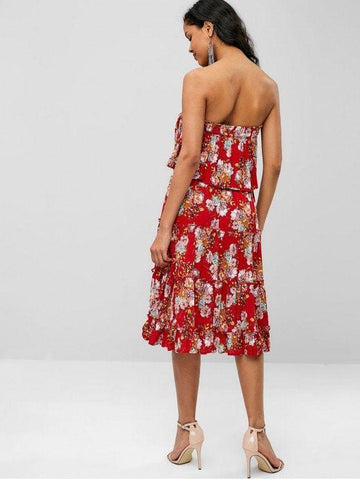 Bohemian Flower Strapless Flounce Dress