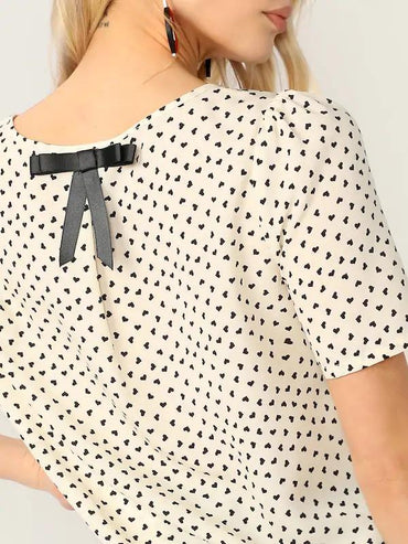 Bow Back Heart Print Top