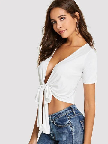 Bow Tie Front Plunge Crop Top