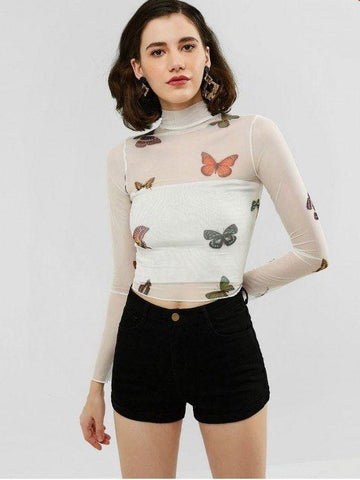 Butterfly Mesh High Neck Sheer Tee