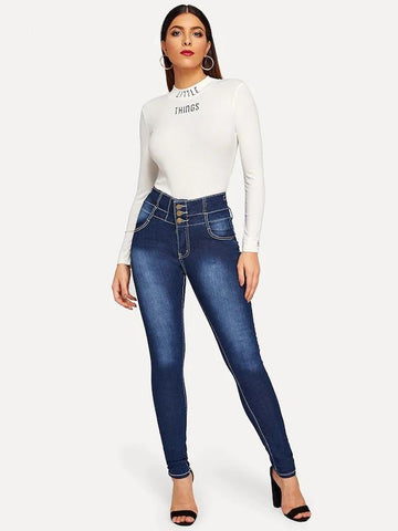 Button Fly High Waist Bleached Jeans