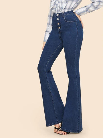 Button Up Flare Hem Jeans