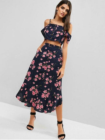 Button Up Floral Two Piece Dress