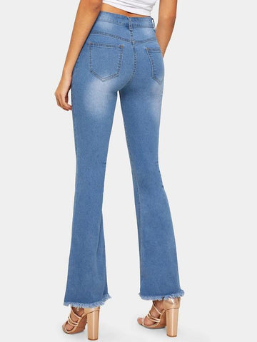 Button Waist Raw Hem Flare Leg Jeans