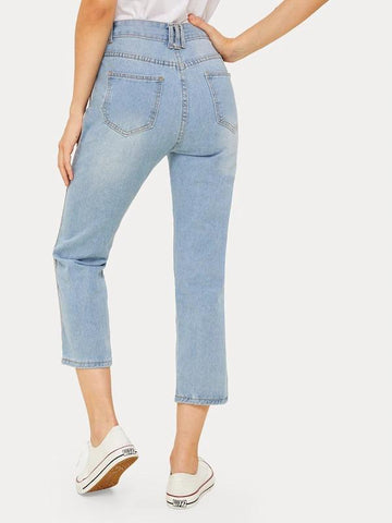 Button Waist Side Stripe Ripped Jeans