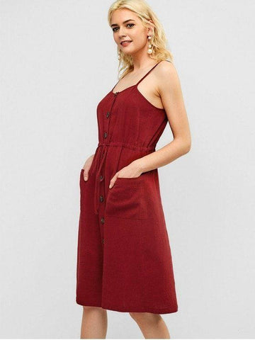 Button Fly Drawstring Pocket Dress