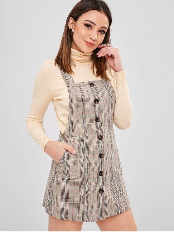 Button Up Plaid Pinafore Dress