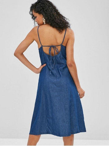 Button Up Slit Chambray Dress