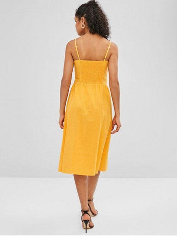 Button Up Smocked Cami Dress-Yellow