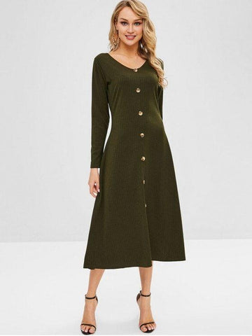 Button Up V Neck Solid Dress