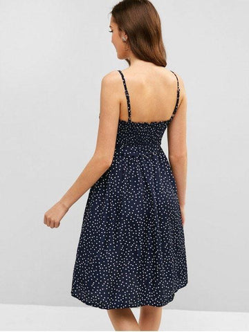 Buttoned Smocked Dots Cami Dress