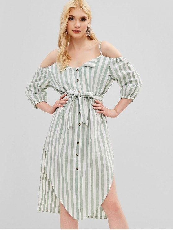 Buttons Embellished Striped Belted Cami Dress