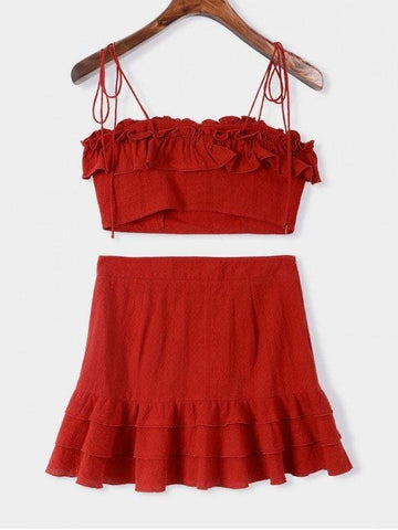 Cami Flounce Top and Layered Skirt Set