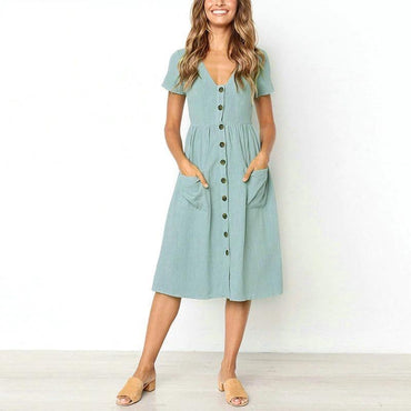 Casual Vintage cotton Button tunic dress