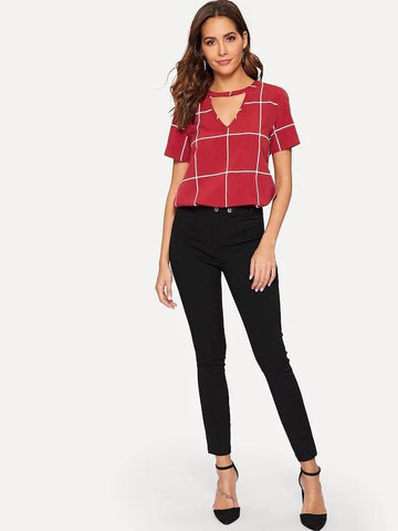 Choker V Neck Grid Top