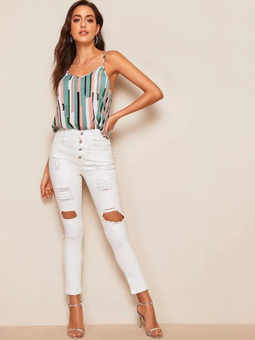 Colorblock Striped Cami Top