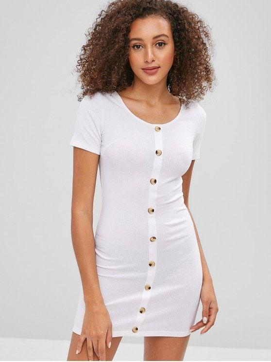 Contrasting Buttons Ribbed Mini Bodycon Dress