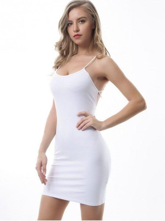 Criss Cross Backless Bodycon Dress
