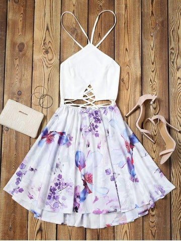 Criss Cross Backless Floral Flare Dress