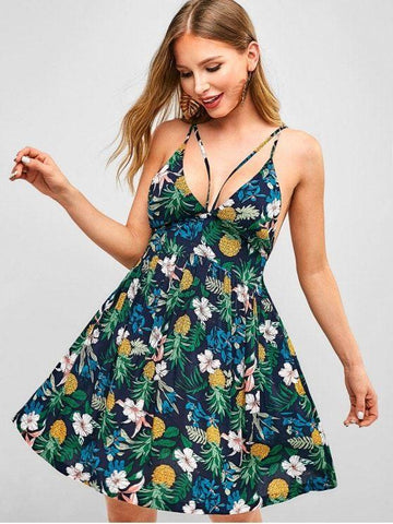 Criss Cross Strappy Pineapple Floral Dress