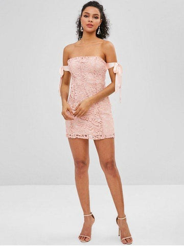 Crochet Lace Knotted Off Shoulder Dress