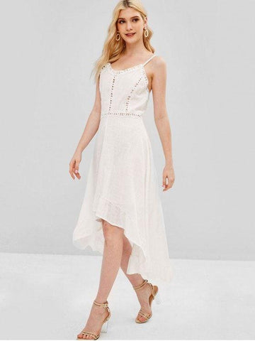Crochet Panel High Low Dress