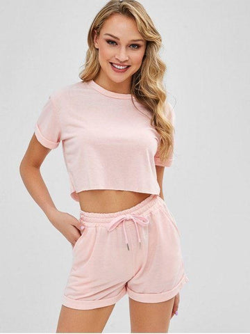 Cropped Plain Tee And Shorts Set