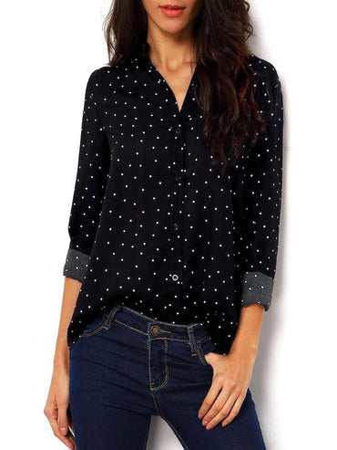 Curved Hem Polka Dot Shirt