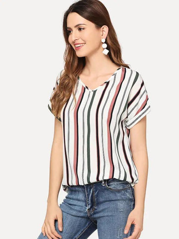 Curved Hem Striped Top