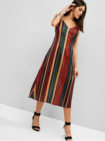 Cut Out Back Shadow Striped Cami Dress