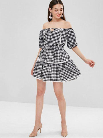 Cut Out Off Shoulder Checked Dress