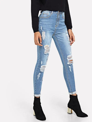 Dark Wash Destroyed Jeans