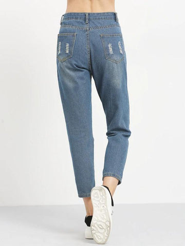 Distressed Boyfriend Ankle Jeans