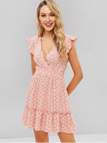 Dotted Ruffles Surplice Mini Dress ‰ÛÒ Pink