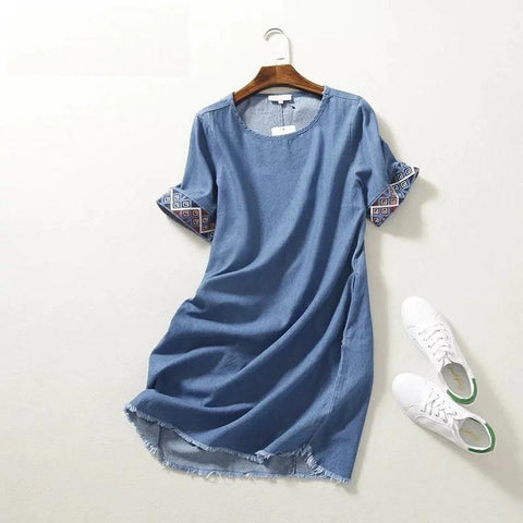 Embroidery  Straight Denim Dress