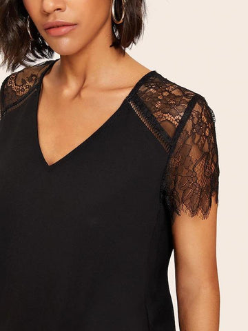 Eyelash Lace Insert V Neck Blouse