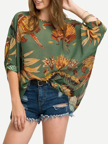 Feather Print Batwing Sleeve Chiffon Top