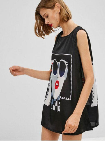 Figure Graphic Sleeveless Mini Dress