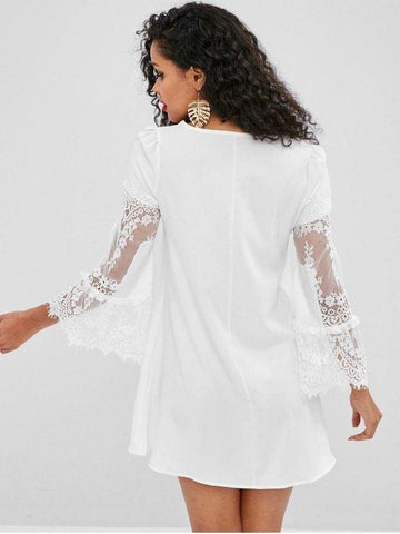 Flare Sleeves Lace Panel Mini Dress ‰ÛÒ White