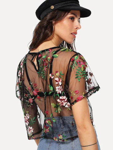 Floral Embroidered Sheer Mesh Crop Top Without Bra