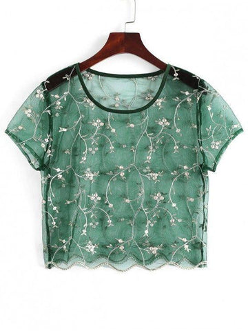 Floral Embroidered Sheer Tulle Crop Top