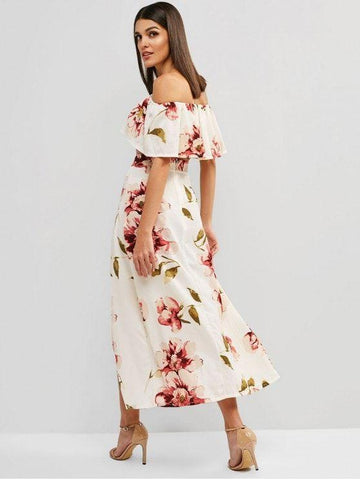 Fashion Floral Print Cropped Top And Maxi Skirt Set