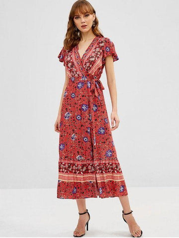 Floral Butterfly Sleeve Flounce Wrap Dress
