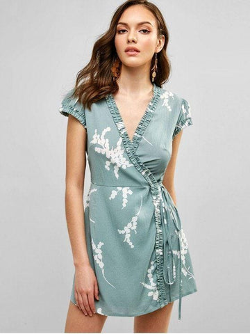Floral Cap Sleeve Wrap Mini Dress