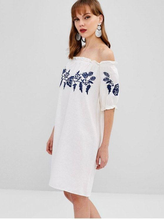 Floral Embroidered Off Shoulder Dress