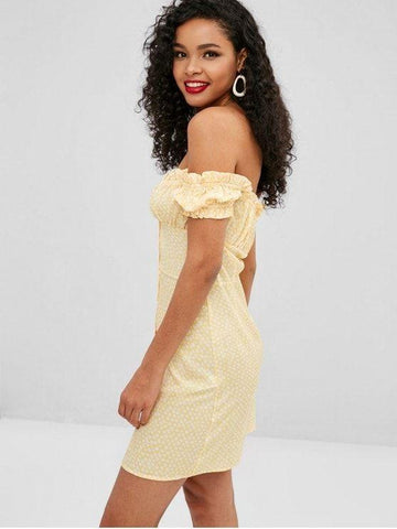 Floral Off Shoulder Ruffle Dress